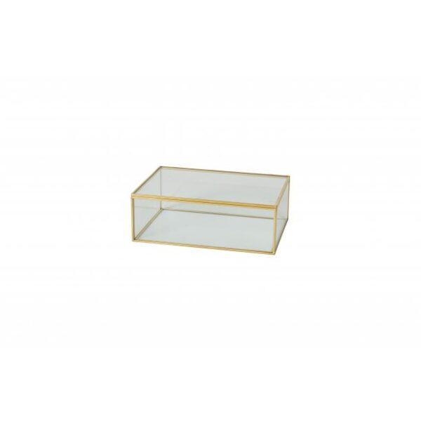Glasmontre med låg 20x14x7 cm.