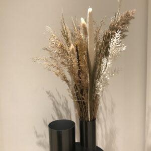 HÜBSCH vase i grå:sort sæt med 2 stk.