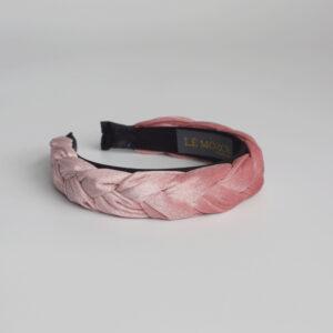 Hårband Jenny i flettet rosa velour