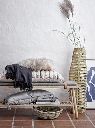 Miljøbillede af plaid:tæppe genbrugt bomuld marineblå