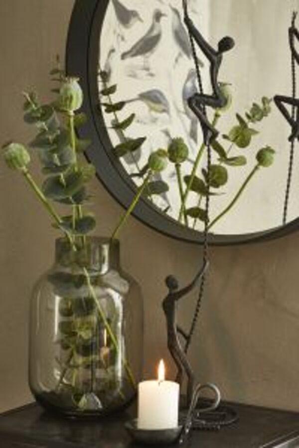 Miljøbillede stor glas vase i grå 17x25