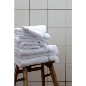 Miljøbillede håndklæder hvid med grå striber