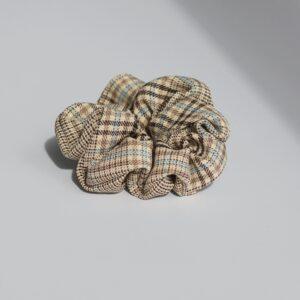 Piper scrunchie i blå/brun tern
