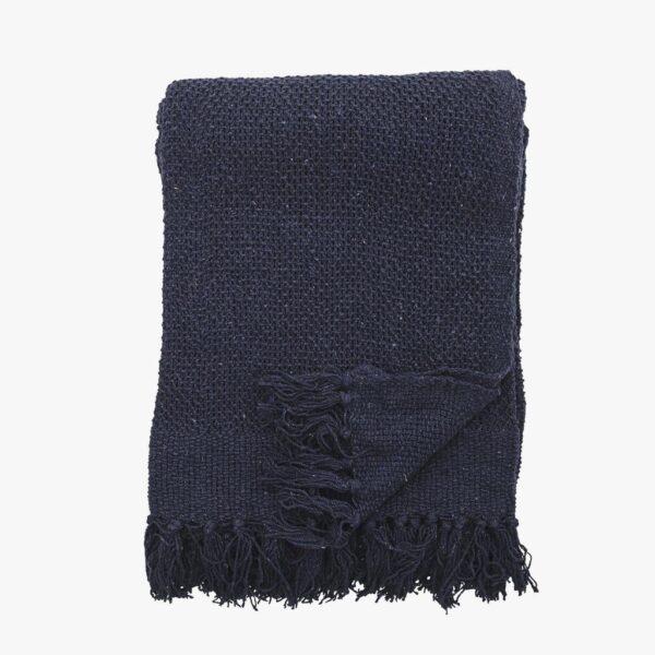 Plaid/tæppe i genbrugt bomuld marineblå