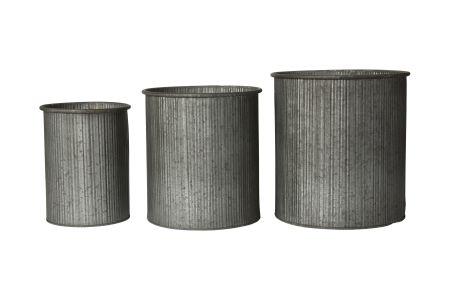 Pottesæt med struktur i zink