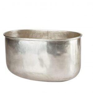 Silver oval urtepotte