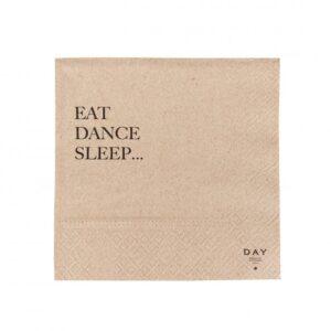 servietter med ord eat dance sleep