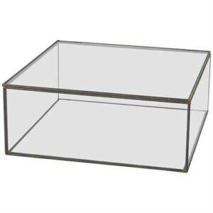 Glasskrin med låg i sort 20x20 cm.