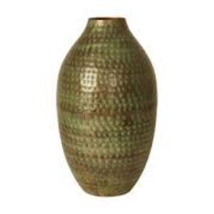 Vase metal antik grøn 44 cm.