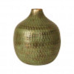 Vase i grøn metal 33 cm.